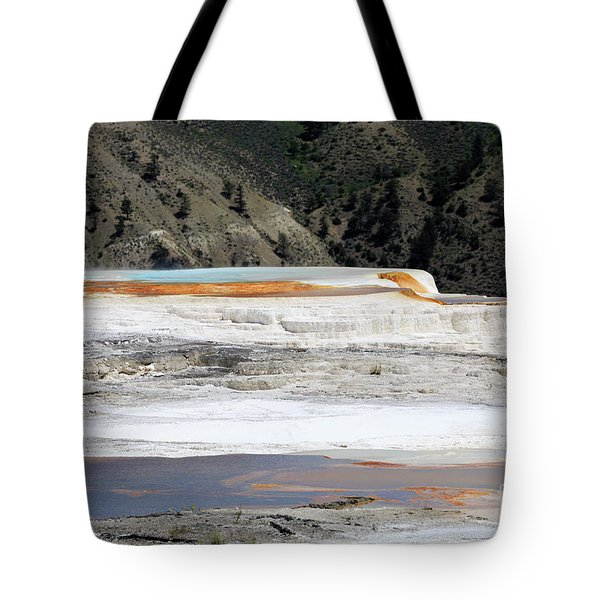 Canary Spring At Mammoth Hot Springs Upper Terraces Tote Bag by Louise Heusinkveld