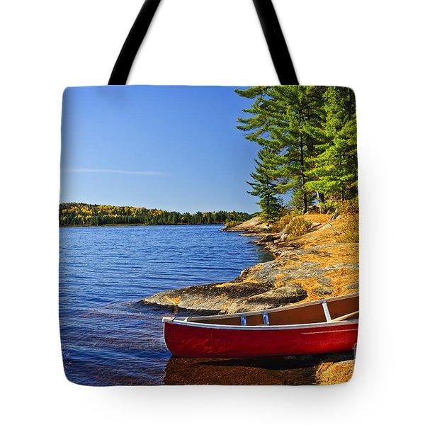 Canoe On Shore Tote Bag