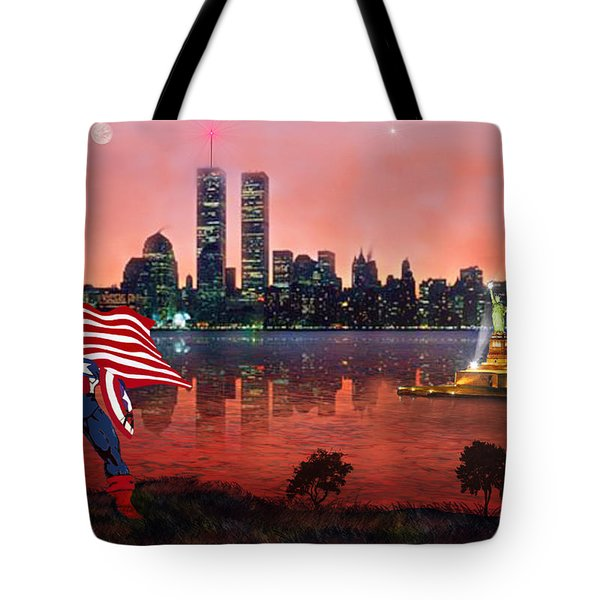 Captain America Tote Bag by Michael Rucker