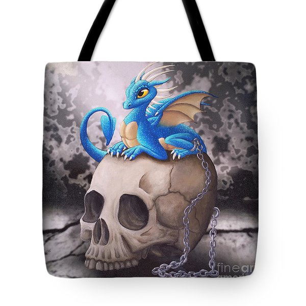 Captive Dragon On An Old Skull Tote Bag
