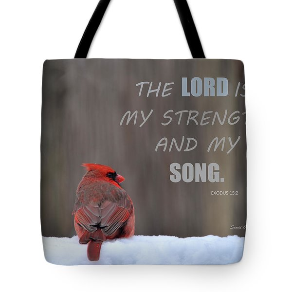 Cardinal In The Snowstorm With Scripture Tote Bag