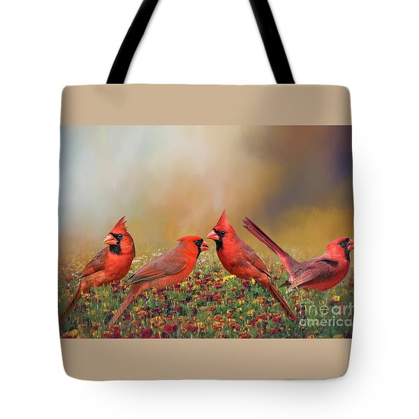 Cardinal Quartet Tote Bag by Bonnie Barry