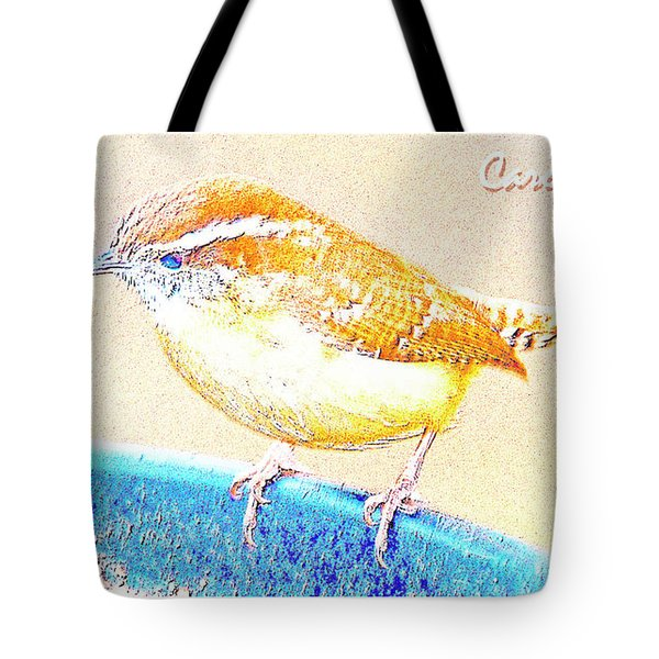 Carolina Wren, Winter Wren On Bird Feeder, Digital Art Tote Bag