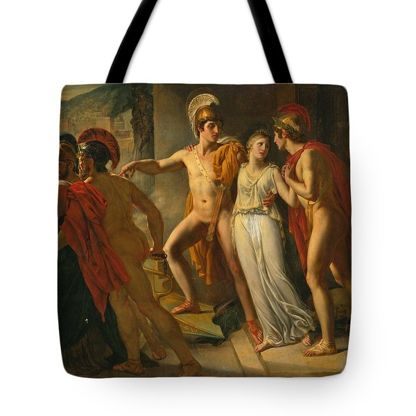 Castor And Pollux Rescuing Helen Tote Bag by Jean-Bruno Gassies