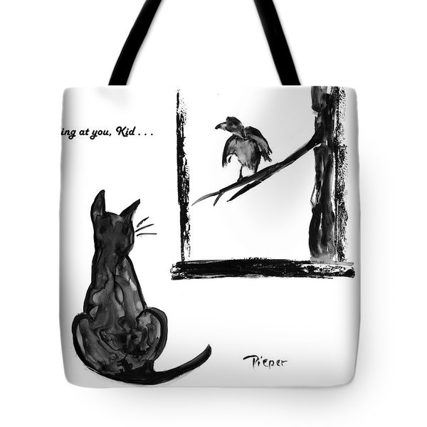 Cat And Bird  Tote Bag by Betty Pieper