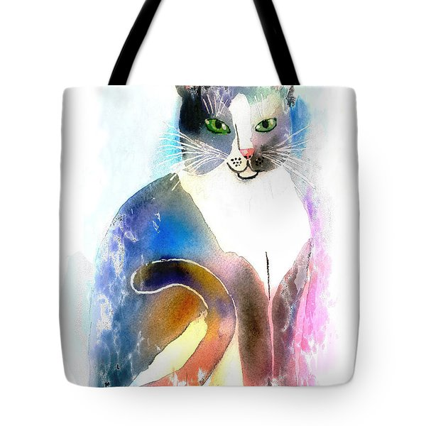 Tote Bag featuring the mixed media Cat Of Many Colors by Arline Wagner