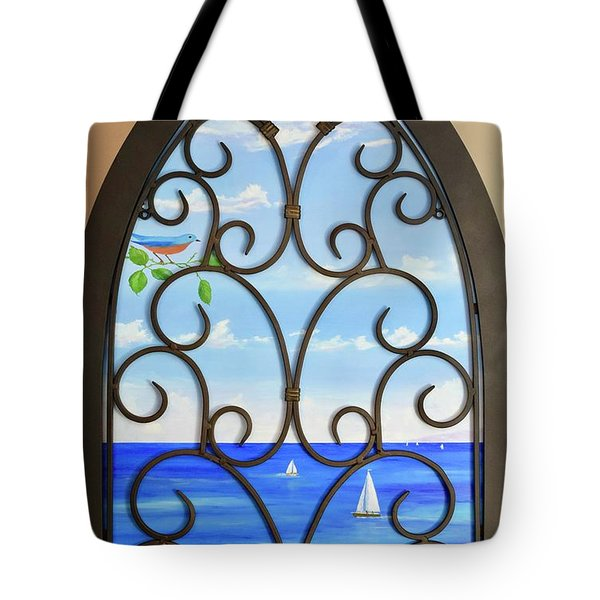 Tote Bag featuring the painting Cathedral View by Mary Scott