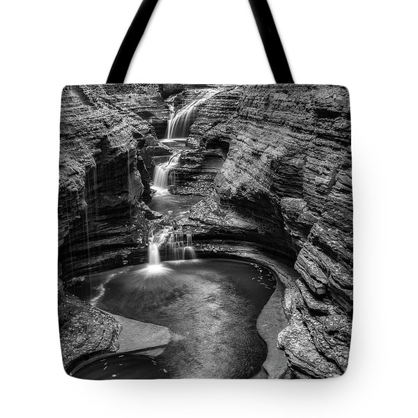 Tote Bag featuring the photograph Rainbow Falls Watkins Glen State Park Bw by Susan Candelario