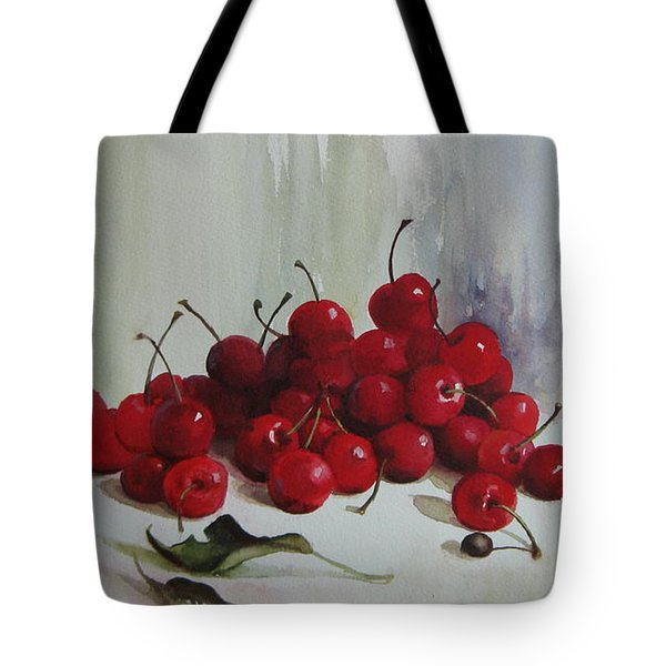 Tote Bag featuring the painting Cherries by Elena Oleniuc