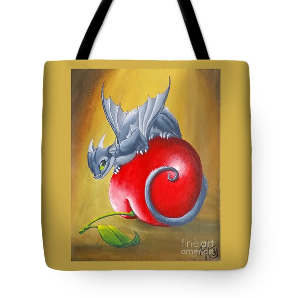 Tote Bag featuring the painting Cherry Dragon by Mary Hoy