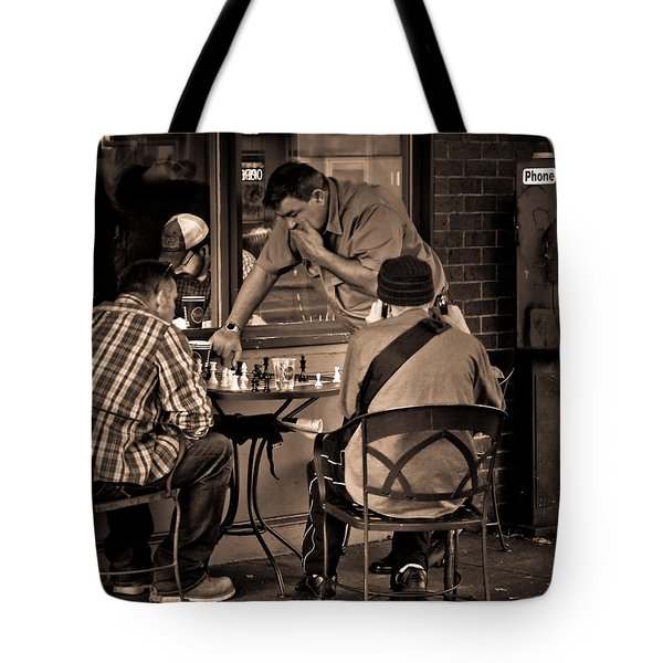 Tote Bag featuring the photograph Chess Game by Erin Kohlenberg