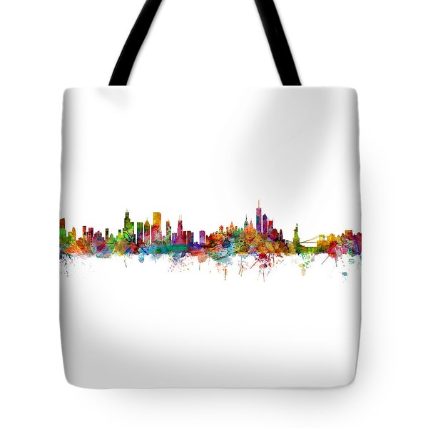 Chicago And New York City Skylines Mashup Tote Bag