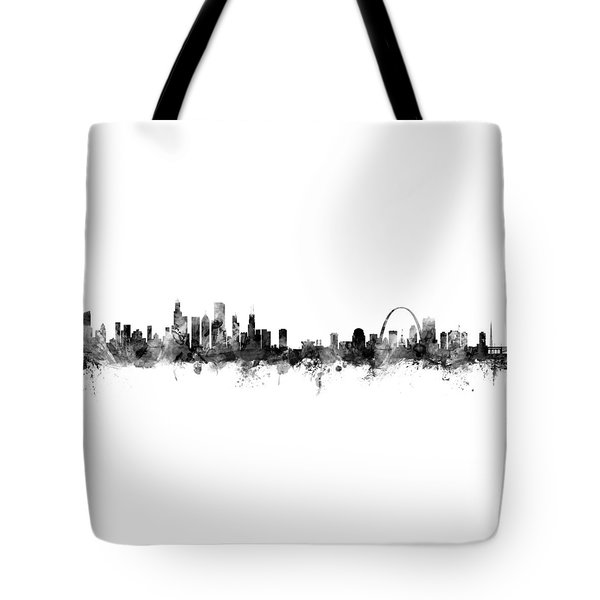 Chicago And St Louis Skyline Mashup Tote Bag