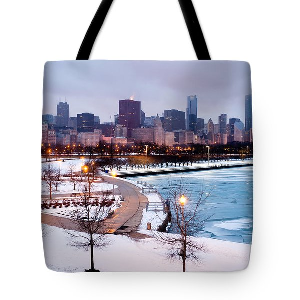 Chicago Skyline In Winter Tote Bag