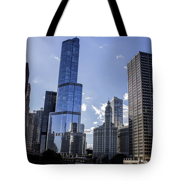 Chicago Skyline Tote Bag by Tracey Rees