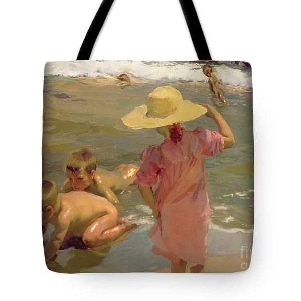 Children On The Seashore Tote Bag by Joaquin Sorolla y Bastida