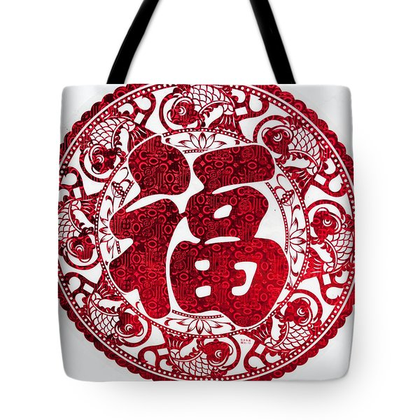 Chinese Paper-cut For Blessing Tote Bag
