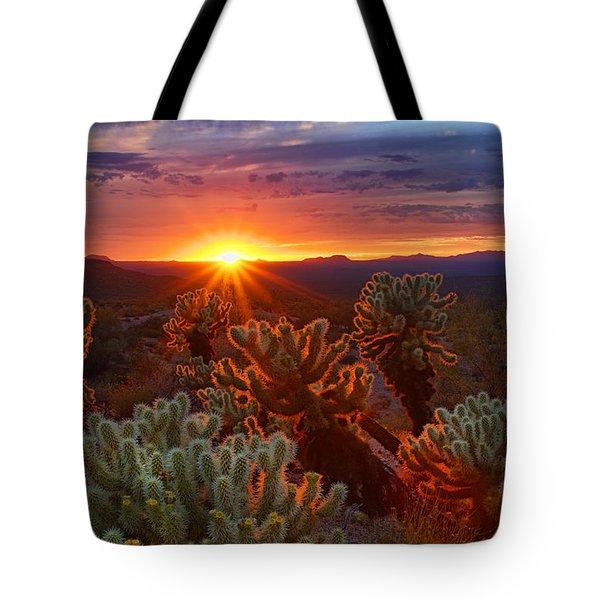 Cholla Sunset  Tote Bag
