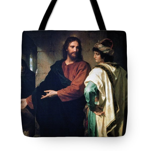 Christ And The Rich Young Ruler Tote Bag