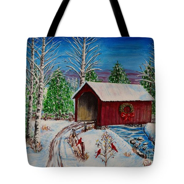 Tote Bag featuring the painting Christmas Bridge by Melvin Turner