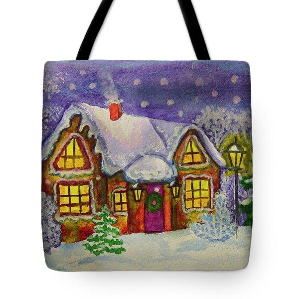 Christmas House, Painting Tote Bag