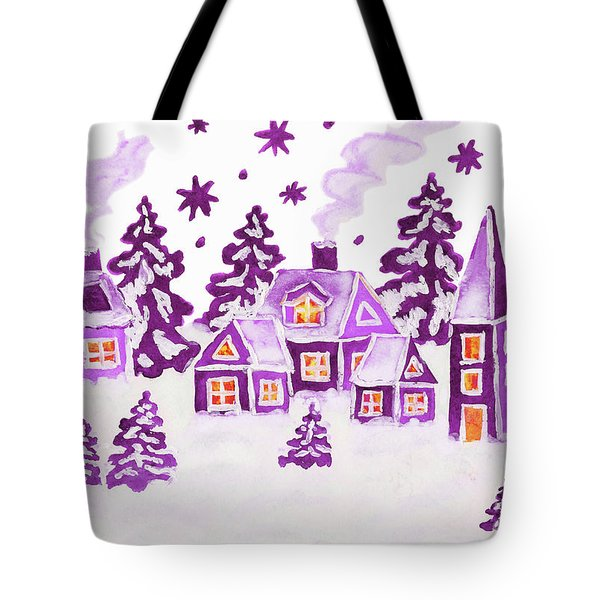 Christmas Picture In Raspberry Pink Colours Tote Bag