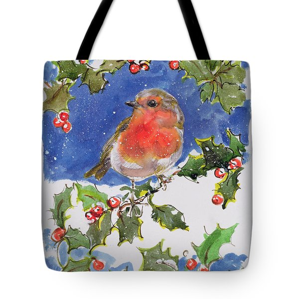 Christmas Robin Tote Bag by Diane Matthes