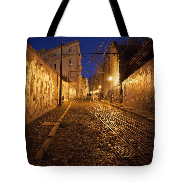 City Of Lisbon By Night In Portugal Tote Bag