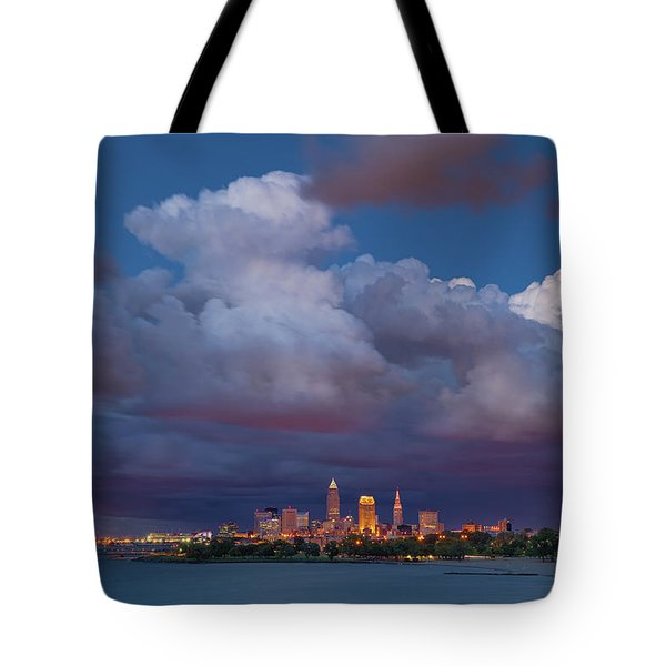 Tote Bag featuring the photograph Cleveland Skyline  by Emmanuel Panagiotakis