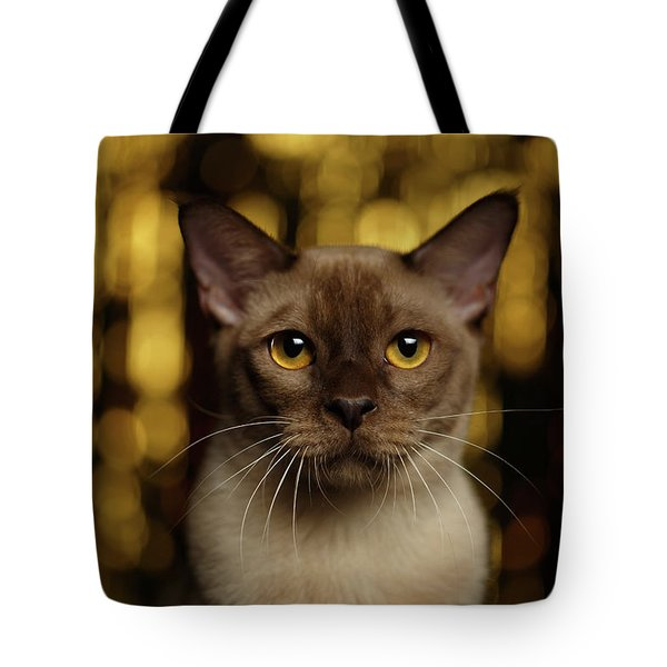 Closeup Portrait Burmese Cat On Happy New Year Background Tote Bag