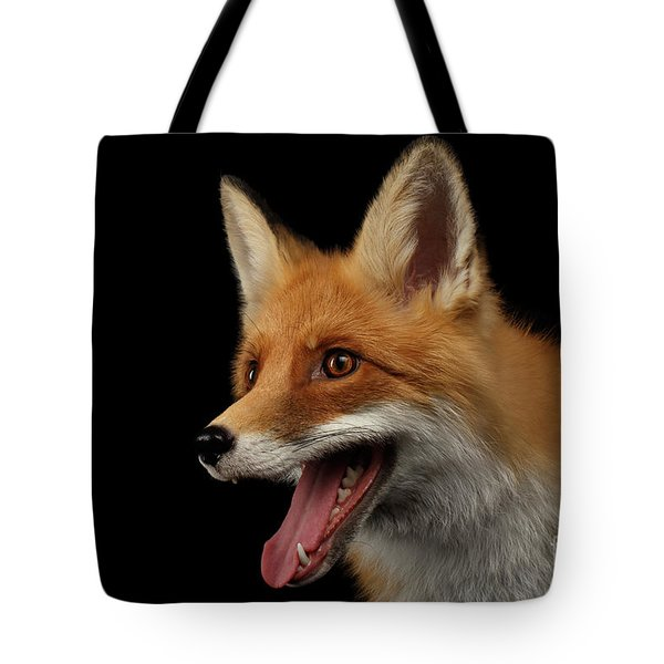 Closeup Portrait Of Smiled Red Fox Isolated On Black  Tote Bag by Sergey Taran