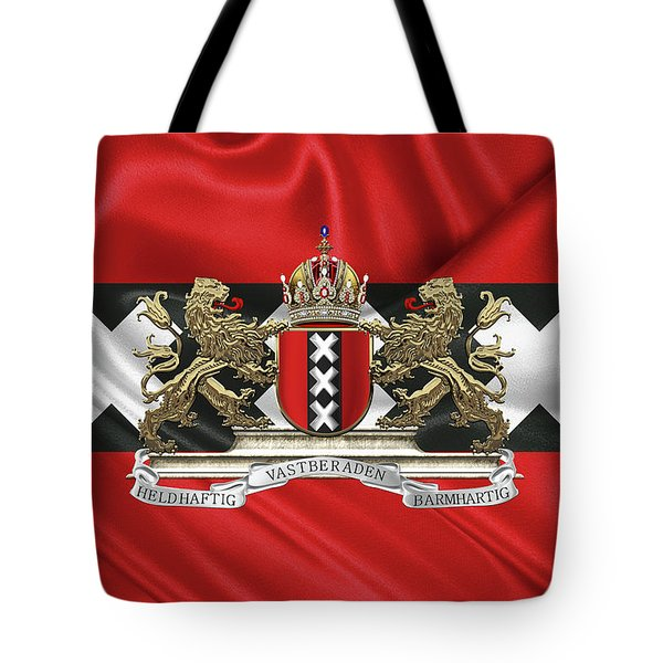 Coat Of Arms Of Amsterdam Over Flag Of Amsterdam Tote Bag by Serge Averbukh