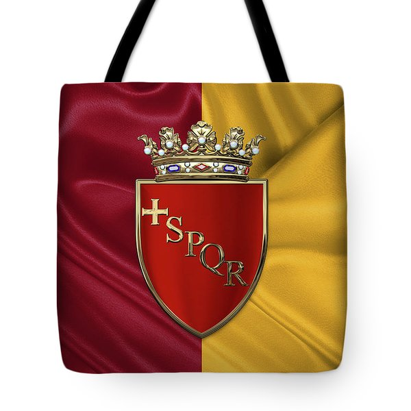 Coat Of Arms Of Rome Over Flag Of Rome Tote Bag by Serge Averbukh