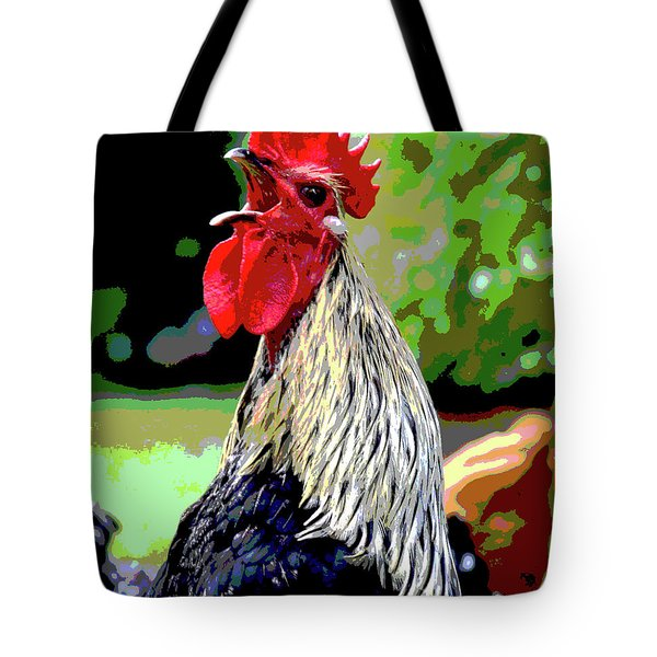 Tote Bag featuring the mixed media Cock A Doodle Doo by Charles Shoup