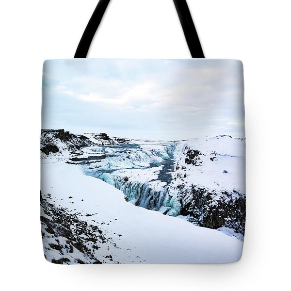 Cold Winter Day At Gullfoss, Iceland Tote Bag