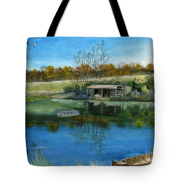 Tote Bag featuring the painting Cole Hill Pond by Melly Terpening