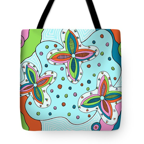 Tote Bag featuring the drawing Color Collision by Jill Lenzmeier