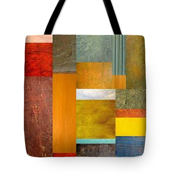 Color Panels with Blue Sky Tote Bag by Michelle Calkins