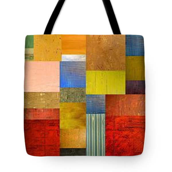 Color Panels With Green Grass Tote Bag by Michelle Calkins