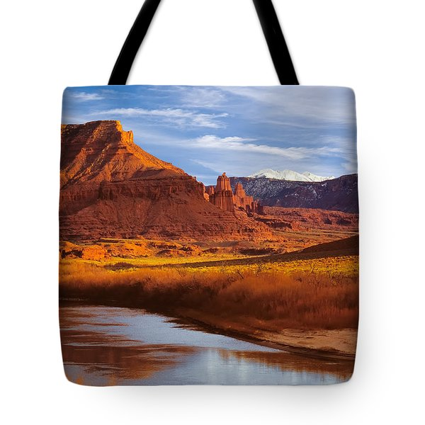 Colorado River At Fisher Towers Tote Bag by Utah Images