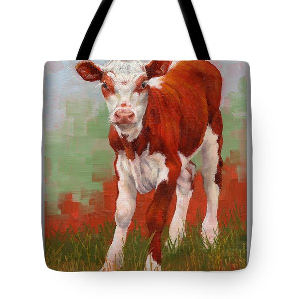 Tote Bag featuring the painting Colorful Calf by Margaret Stockdale