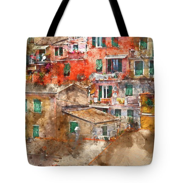 Colorful Homes In Cinque Terre Italy Tote Bag