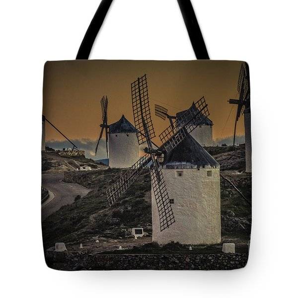 Tote Bag featuring the photograph Consuegra Windmills 2 by Heiko Koehrer-Wagner