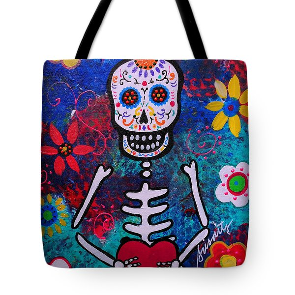 Corazon Day Of The Dead Tote Bag by Pristine Cartera Turkus