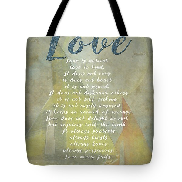 1 Corinthians 13 4-8 Love Is Patient Love Is Kind Wedding Verses. Great Gift For Men Or Home Decor. Tote Bag