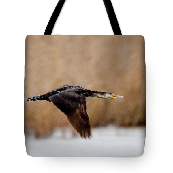 Cormorant In Flight Tote Bag