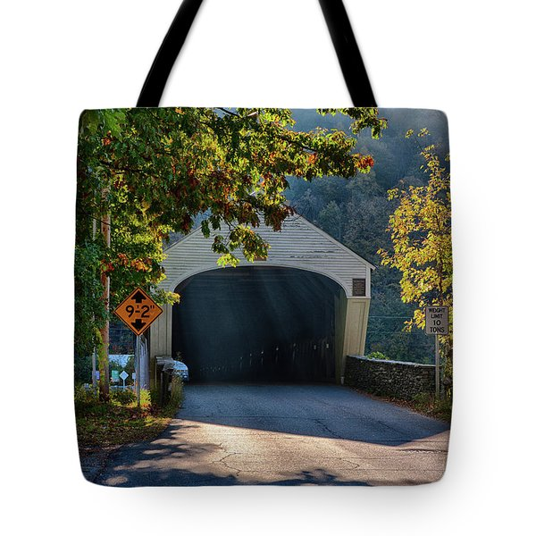 Tote Bag featuring the photograph Cornish-windsor Covered Bridge by Jeff Folger