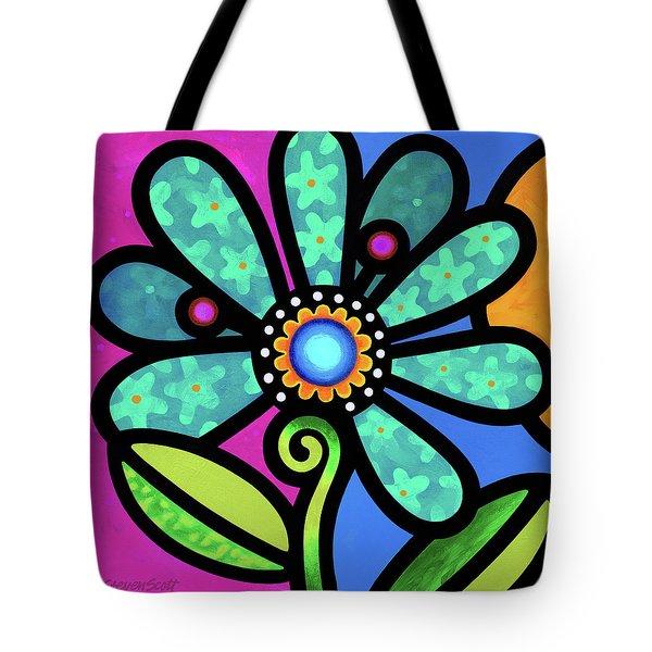 Cosmic Daisy In Aqua Tote Bag