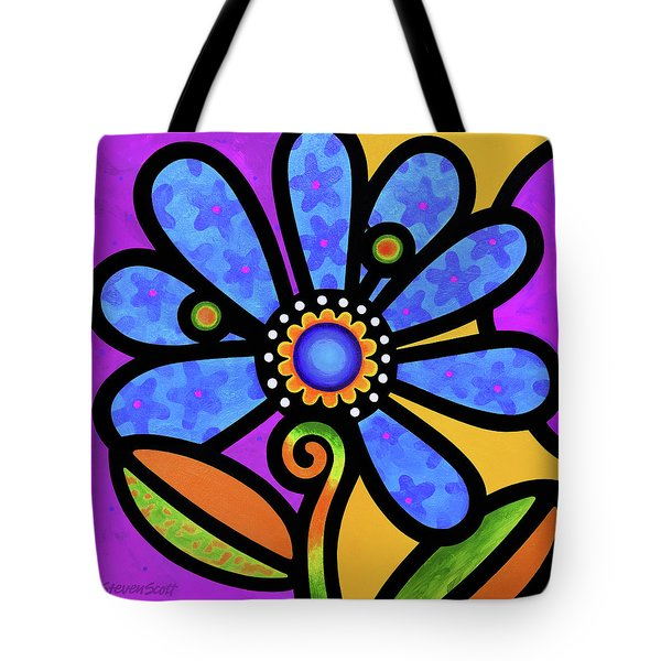 Cosmic Daisy In Blue Tote Bag