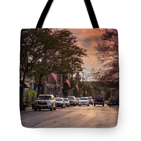 Tote Bag featuring the photograph Cottage Street Evening Sunset by Sven Kielhorn